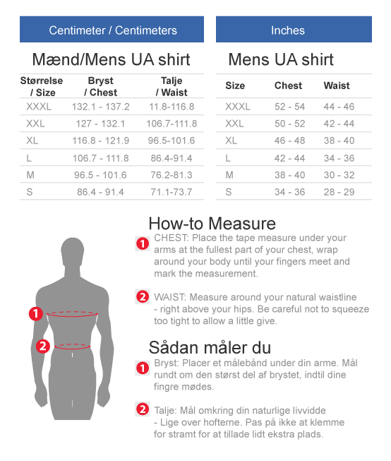 Under Armour Super hero size chart